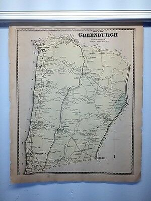 Antique 1867 Hand-Colored  Map Town of Greenburgh NY (#7)