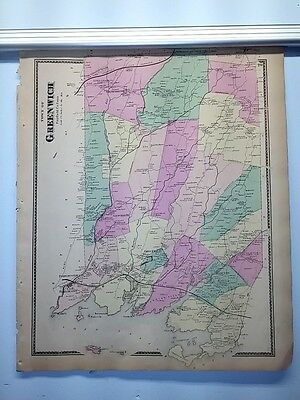 Antique 1867 Hand-Colored  Map of Greenwich CT (#20) by F.W. Beers (ed.)