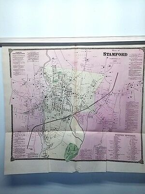 Original LARGE 1867 Hand-Colored  Map of Stamford CT (#23)