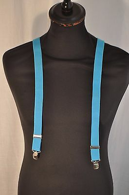 Vintage thin electric blue strip gentleman's braces suspenders clip fastening