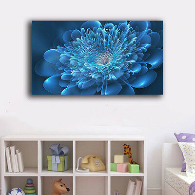 60×100×3cm Abstract Flower Blue Canvas Print Framed Wall Art Home Decor Painting