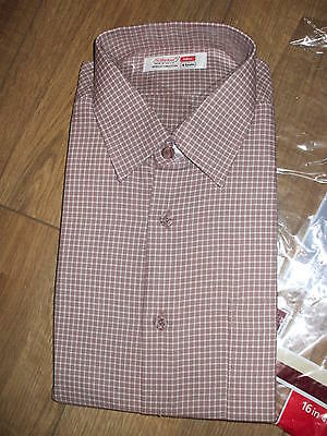NEW Vintage Retro 100% Cotton long sleeve shirt MADE IN UK 1970's SIZE 16 collar