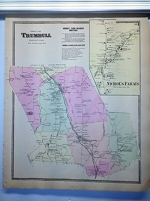 Antique 1867 Hand-Colored  Map of Trumbull Nichol's Farms CT (#34)