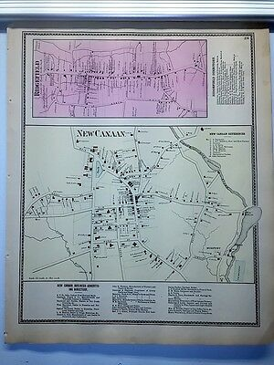 Antique 1867 Hand-Colored  Map of Ridgefield New Canaan CT (#39)