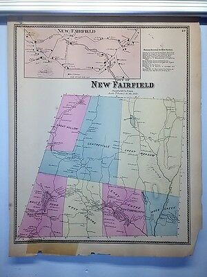Antique 1867 Hand-Colored  Map of New Fairfield, CT (#49)