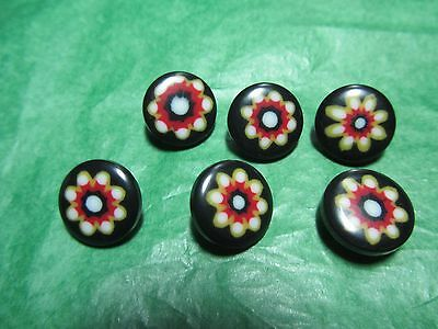 """(6)  1/2"""" DECORATIVE RED WHITE BLUE PLASTIC SHANK BUTTONS - VINTAGE Lot#GB1032"""