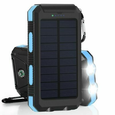 Waterproof 900000mAh 2 USB Portable Solar Battery Charger Solar Power Bank Blue