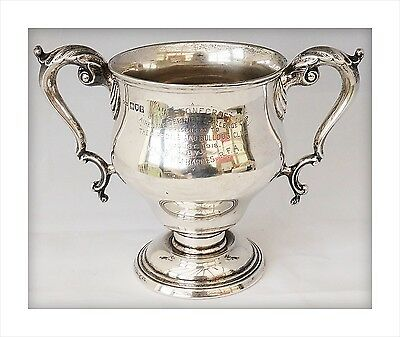 Sterling Silver Dog Trophy Cup (360gm). Airedale Terrier & Bulldog Club 1918.