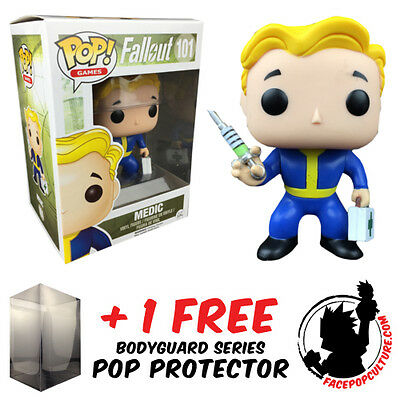 Funko Pop Fallout Vault Boy Medic Exclusive Vinyl Figure + Free Pop Protector