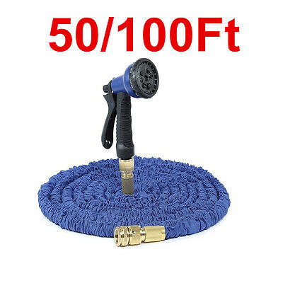 Expanding Expandable Elastic Compact Garden Hose Pipe With Spray Gun 50 100 FT