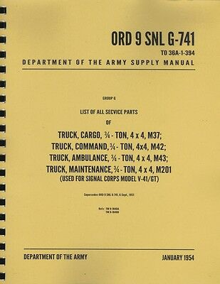 ORD 9 SNL G-741 ~ M37/M43 Dodge Manual ~ List of All Service Parts ~ Reprnt