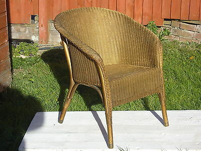 Lloyd Loom Chair By Lusty In Original Condition With Label Woven Seat & Capped F