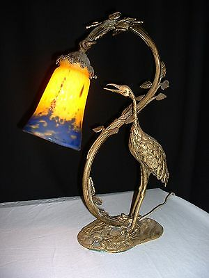 Antique bronze Art Deco Heron Sculpture statue table lamp with muller frères lun