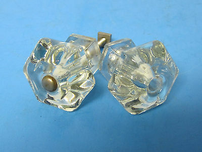 2 Matching   Antique Vintage Furniture Glass Drawer Pull  Knobs