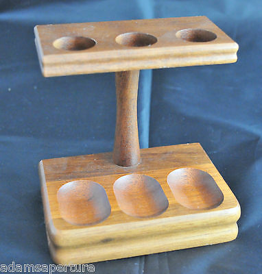 Vintage Walnut Decatur Industries Pipe Stand For 3 Pipes