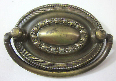 "1Antique vintage brass plated drawer dresser armoire oval drop pull handle 2""C-C"