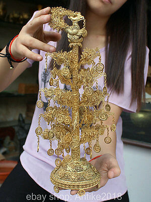 """13"""" Chinese Pure Silver 24K Gold Filigree Phoenix Money Tree Coin Wealth Statue"""