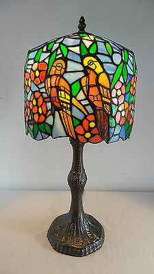 Table Lamp Tiffany Style Hand Cut Stained Glass Parrots and Flowers