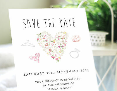 25 Personalised vintage heart wedding save the date cards with envelopes