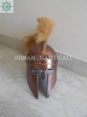 Greek Corinthian Helmet copper finish white Plume Collectibles Ancient royal