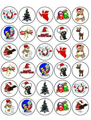 30 x PRE-CUT MIX 2 CHRISTMAS XMAS CUP CAKE EDIBLE RICE WAFER PAPER TOPPERS