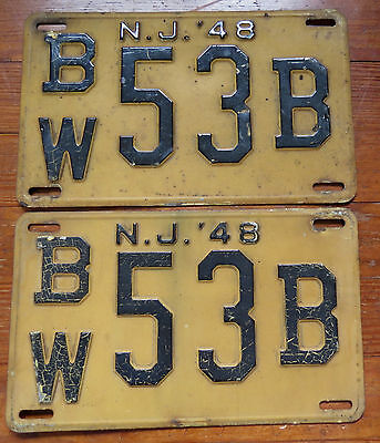 MATCHED PAIR of 1948 NEW JERSEY LICENSE PLATES - BW 53B