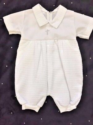 Boys White Christening Romper Suit And Cap Baptism Outfit