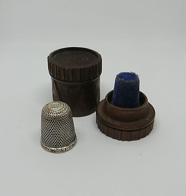 Unusual Treen Thimble Case In The Shape Of A Drum & Hg&s Silver The Spa Thimble