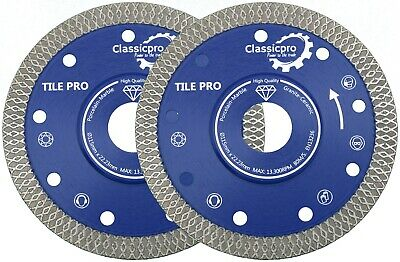2x Porcelain Tile Turbo Thin Diamond Dry Cutting blade/Disc Grinder wheel 115mm