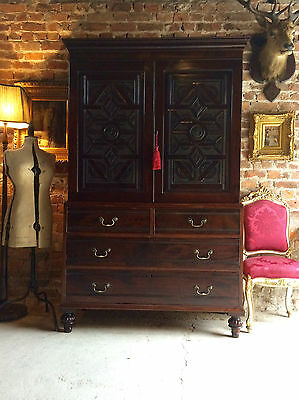 Antique Victorian Linen Press Carved Mahogany Chest of Drawers 19th Century