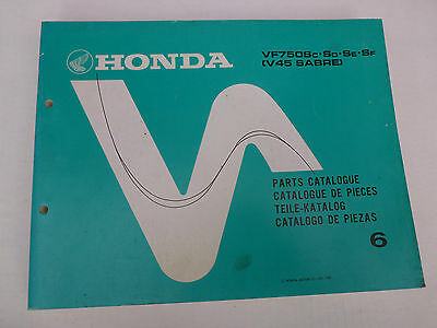 Honda Vf750 V45 Sabre Genuine Parts Catalogue 1987