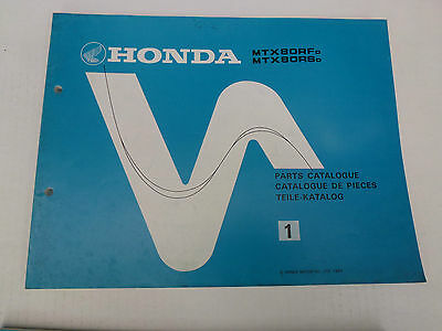 Honda Mtx80 Genuine Parts Catalogue 1983