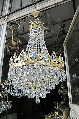 Antique Vnt French Big Basket Style Crystal Chandelier Lamp 1940's 16in dmtr**-