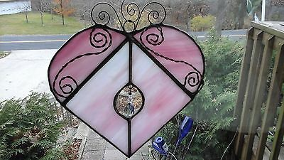 Stained Glass Heart with Hanging Swarovski Crystal pendants Suncatcher