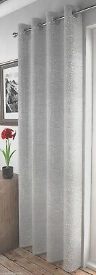 Shimmery Glitter Sparkles Silver Pale Grey Eyelet Thick Voile Net Curtain Panel