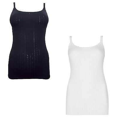 M&S 2 Pack Thermal Pointelle Strappy Vests Black Ivory White 10 14 16 18 20 New