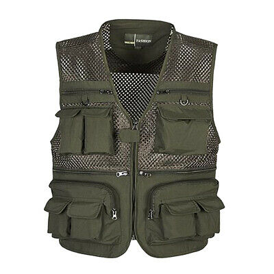 Men's Multi Pocket Fishing Mesh Vest Photography Travel Director Zip Waistcoat