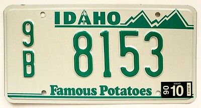 """Idaho 1990 """"Famous Potatoes"""" Boundary County License Plate, High Quality Natural"""