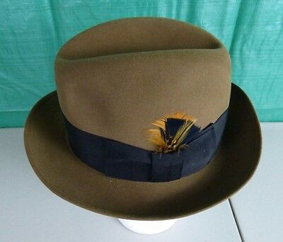 Vintage Brooks Brothers Fur Felt Fedora Hat Cap Brown Feather Fitted Size 7