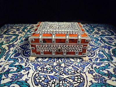 Islamic/ Middle Eastern , Indian Antique Bone and Faux Tortoiseshell Trinket Box