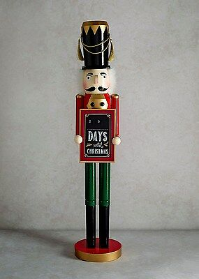 Toy Soldier Christmas Nutcracker with countdown until Christmas sign 70cm Tall