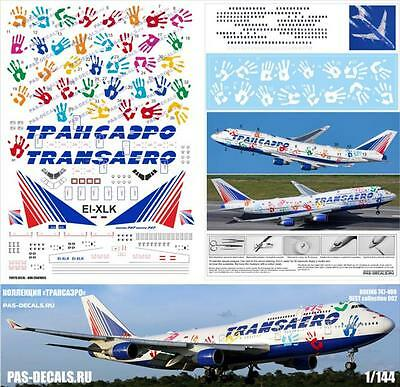 PAS Decals BEST-002 Boeing 747-400 Transaero Flight of Hope collection 1/144