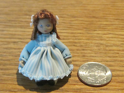 1:12 scale dollhouse doll artist made doll toy, tiny girl doll with real hair