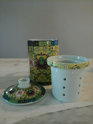 3 Pc. Chinese Oriental Porcelain Tea Cup Mug & Lid & Filter Pink Yellow Green
