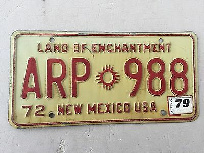 """1972 1979 New Mexico Passenger License Plate  """" Apr 988 """" Nm Land Of Enchantment"""