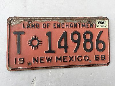 """1968 1969 New Mexico Trailer License Plate  """" T 14986 """" Nm Land Of Enchantment"""