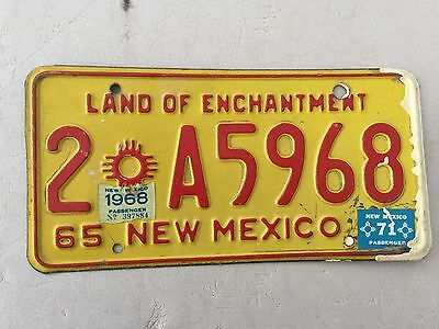"1965 1968 1971 New Mexico License Plate  "" 2 A 5968"" Nm 686 Land Of Enchantment"