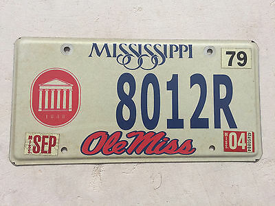 """Ole Miss University Of  Mississippi License Plate  """" 8012 R """" Collegiate Oxford"""