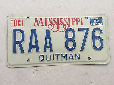 "1982 Mississippi Passenger  License Plate  "" Raa 876 "" Ms 82 Quitman  County"