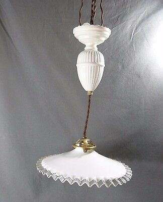 French Art Deco Counterbalance White Porcelain Up and Down Light with Lampshade